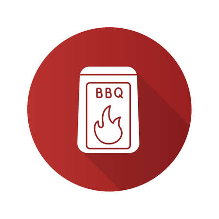 Barbeque coal flat design long shadow glyph icon. Bbq fuel. Vector silhouette illustration Illustration