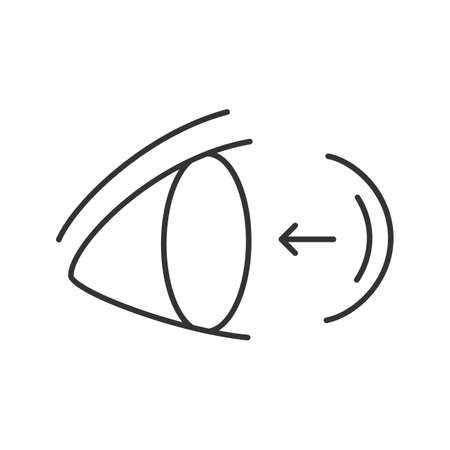 Eye contact lenses putting on linear icon. Thin line illustration. Contour symbol. Vector isolated outline drawing