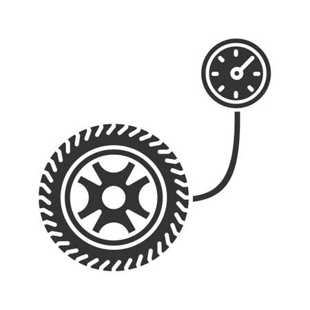 Tire pressure gauge glyph icon. Silhouette symbol. Negative space. Vector isolated illustration
