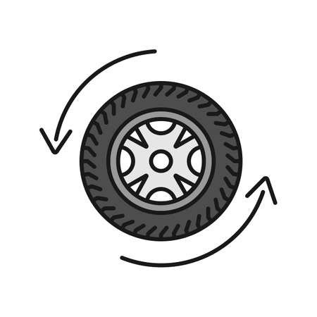 Automobile wheel changing color icon. Car rim and tire with circle arrow. Isolated vector illustration