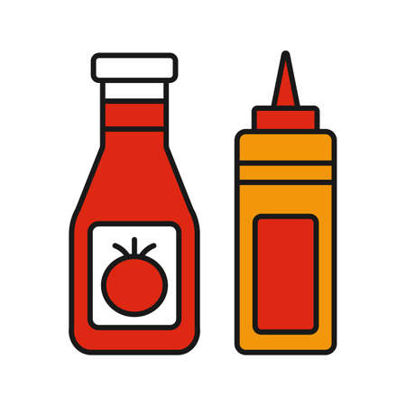 Ketchup and mustard color icon. Condiment bottles. Isolated vector illustration