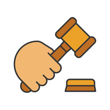 Hand holding gavel color icon. Court hammer. Auction bid. Isolated vector illustration