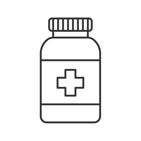 Prescription pills bottle linear icon. Thin line illustration. Medications. Contour symbol. Vector isolated outline drawing