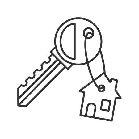Key with trinket house linear icon. Thin line illustration. Real estate. Contour symbol. Vector isolated outline drawing