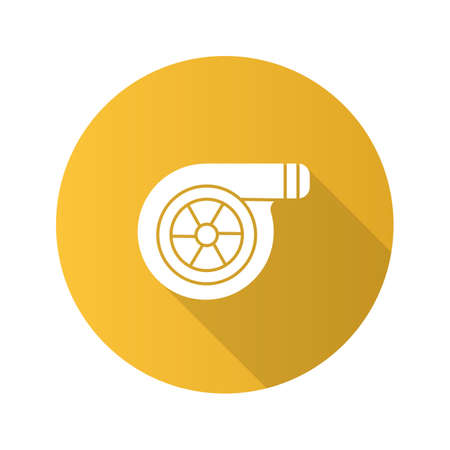 Turbocharger flat design long shadow glyph icon. Colloquially turbo. Vector silhouette illustration Illustration