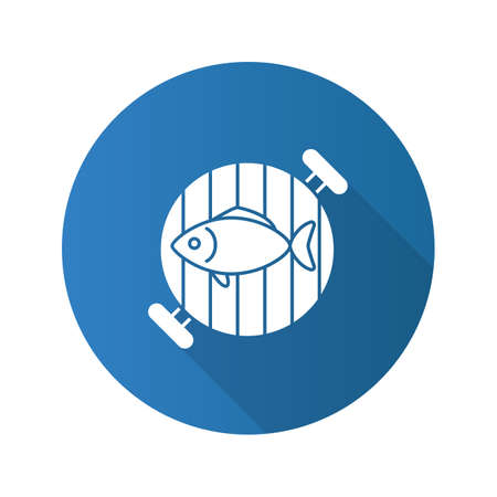 Fish on barbecue grill flat design long shadow glyph icon. Vector silhouette illustration Standard-Bild - 103257216