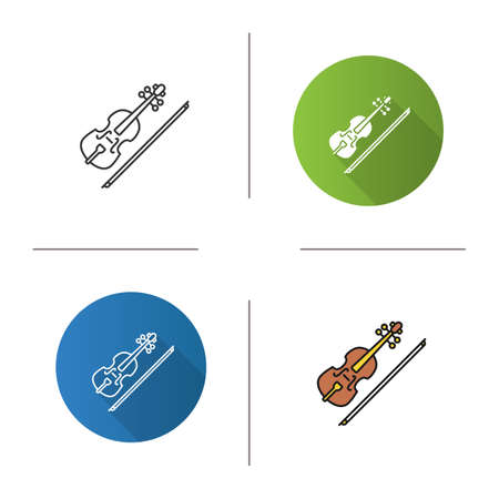 Violin icon. Flat design, linear and color styles. Fiddle. Isolated vector illustrations 向量圖像