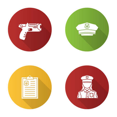 Police flat design long shadow glyph icons set. Taser, hat, police report, policewoman. Vector silhouette illustration