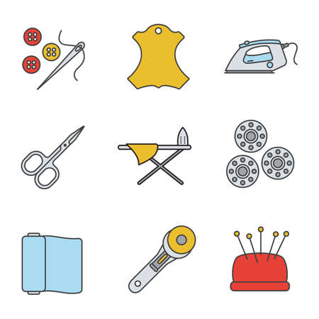 Tailoring color icons set. Needle and buttons, leather label, steam iron and board, nail scissors, bobbins, fabric, rotary cutter, pincushion. Isolated vector illustrations