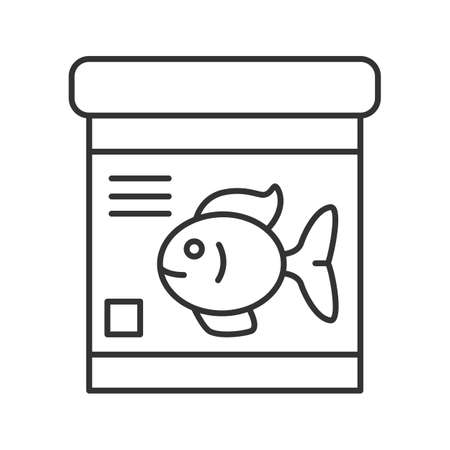 Fish food jar linear icon. Thin line illustration. Contour symbol. Vector isolated outline drawing