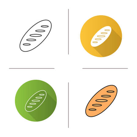 Bread loaf icon. Flat design, linear and color styles. Isolated vector illustrations Ilustração