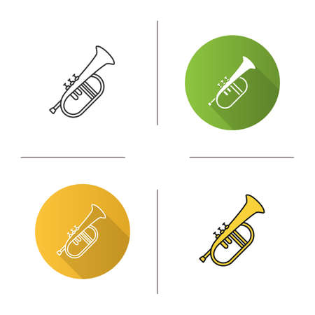 Flugelhorn icon. Flat design, linear and color styles. Cornet. Bugel. Isolated vector illustrations