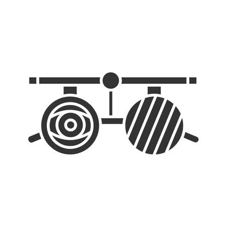 Eye exam glasses glyph icon. Visual acuity testing. Optometry. Silhouette symbol. Negative space. Vector isolated illustration  イラスト・ベクター素材