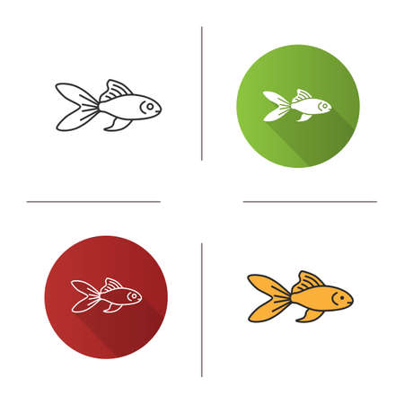 Aquarium goldfish icon. Flat design, linear and color styles. Fishbowl pet. Isolated vector illustrations