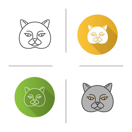 British shorthair cat icon. Flat design, linear and color styles. British blue. Isolated vector illustrations