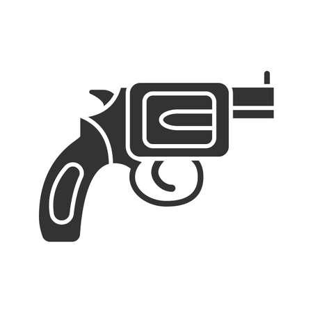 Revolver Glyph Icon Pistol Gun Silhouette Symbol Firearm