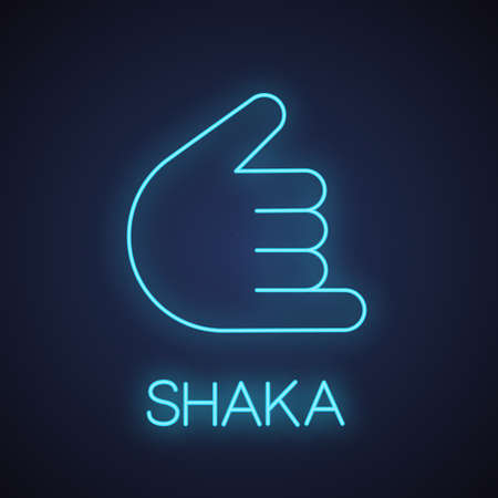 Shaka hand gesture neon light icon. Hang loose. Call me glowing sign. Vector isolated illustration