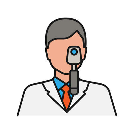 Doctor with ophthalmoscope color icon. Ophthalmologist, optometrist. Isolated vector illustration 스톡 콘텐츠 - 103258047