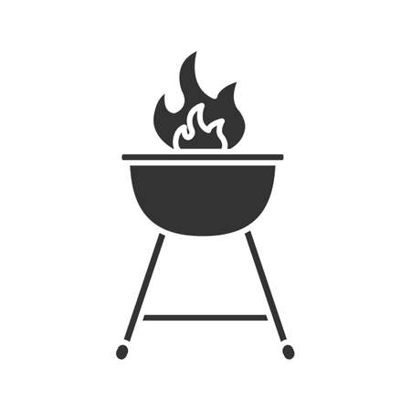 Kettle barbecue grill glyph icon. Silhouette symbol. Negative space. Vector isolated illustration