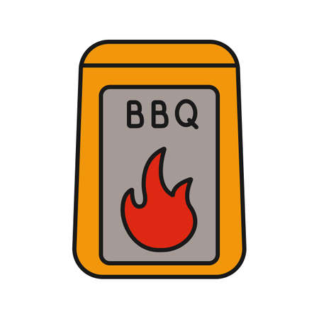 Barbeque coal color icon. Bbq fuel. Isolated vector illustration