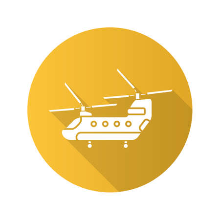 Military helicopter flat design long shadow glyph icon. Chinook. Vector silhouette illustration