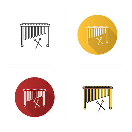 Marimba icon. Flat design, linear and color styles. Isolated vector illustrations