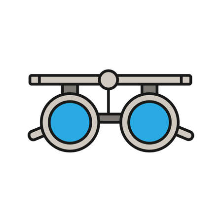 Eye exam glasses color icon. Optometry. Visual acuity testing. Isolated vector illustration  イラスト・ベクター素材