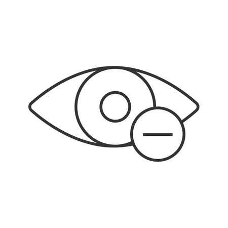 Ojo humano con icono lineal de signo menos. Visión miope. Ilustración de línea fina. Miopía. Símbolo de contorno. Dibujo de contorno aislado del vector