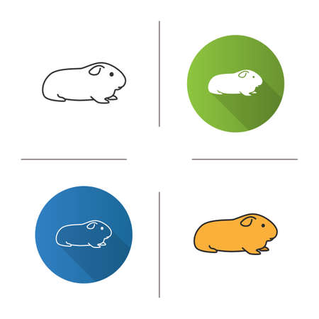Cavy icon. Flat design, linear and color styles. Domestic guinea pig. Isolated vector illustrations