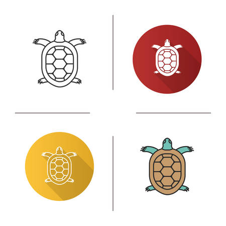 Tortoise icon. Flat design, linear and color styles. Turtle. Isolated vector illustrations