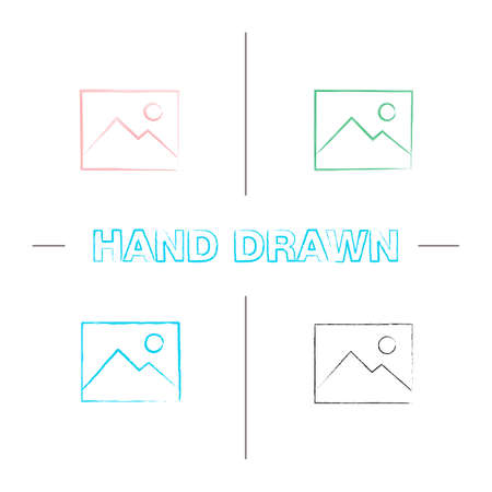 Digital image, photo hand drawn icons set. Picture color brush stroke. Isolated vector sketchy illustrations
