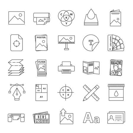 Printing linear icons set. Polygraphy and typography. Posters, flyers, brochures, booklets templates. Thin line contour symbols. Isolated vector outline illustrations