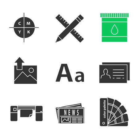 Printing Glyph Icons Set Cmyk Color Model Pencil And Ruler