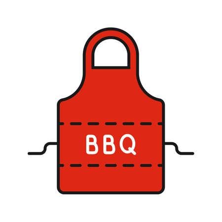 Barbecue apron color icon. Isolated vector illustration