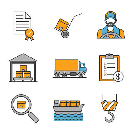 Cargo shipping color icons set. Delivery service. Certificate, dolly cart, invoice, warehouse, delivery truck, driver, parcel tracking, cargo vessel, crane hook. Isolated vector illustrations