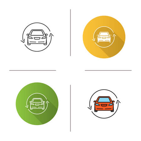Car with circle arrow icon. Flat design, linear and color styles. Complete automobile repair service. Used car market. Isolated vector illustrations