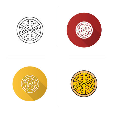 Pizza icon. Flat design, linear and color styles. Pizzeria sign. Isolated vector illustrations