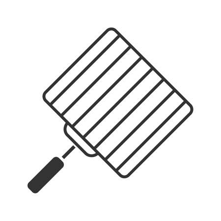 Hand grill glyph icon. Silhouette symbol. Negative space. Barbecue grid. Grilling basket. Vector isolated illustration