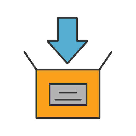 Parcel packing color icon. Open box with down arrow. Downloading. Isolated vector illustration 向量圖像