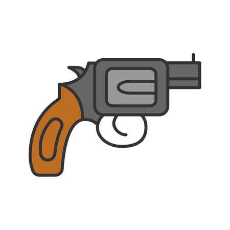 Revolver color icon. Pistol, gun. Firearm. Isolated vector illustration