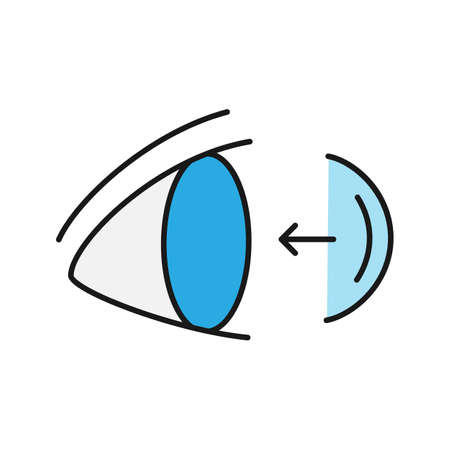 Eye contact lenses putting on color icon. Isolated vector illustration Vettoriali