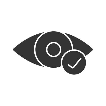 Eye with check mark glyph icon. Good vision. Silhouette symbol. Negative space. Vector isolated illustration