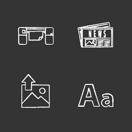 Printing chalk icons set. Polygraphy and typography. Large format printer, newspaper, image uploading, font. Isolated vector chalkboard illustrations 일러스트