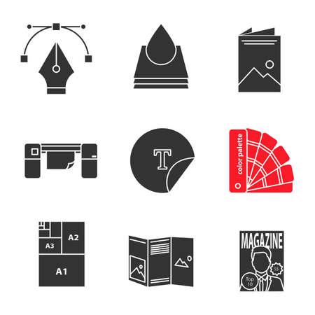 Printing Glyph Icons Set Fountain Pen Nib Ink Drop Brochure