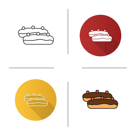 Eclair cake icon. Flat design, linear and color styles. Isolated vector illustrations