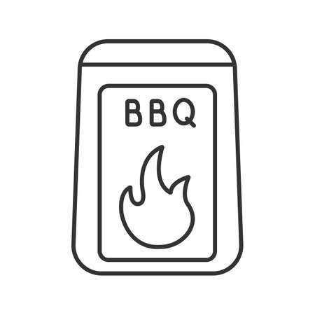 Barbeque coal linear icon. Thin line illustration. Bbq fuel. Contour symbol. Vector isolated drawing