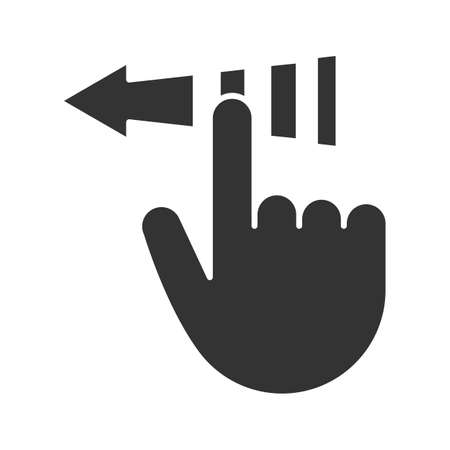 Slide touch gesture glyph icon. Silhouette symbol. Back arrow button. Negative space. Vector isolated illustration