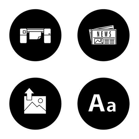 Printing glyph icons set. Polygraphy and typography. Large format printer, newspaper, image uploading, font. Vector white silhouettes illustrations in black circles
