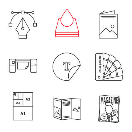 Printing linear icons set. Fountain pen, ink, brochure, large format printer, round sticker, palettes, paper sizes, booklet, magazine. Thin line contour symbols. Isolated vector outline illustrations