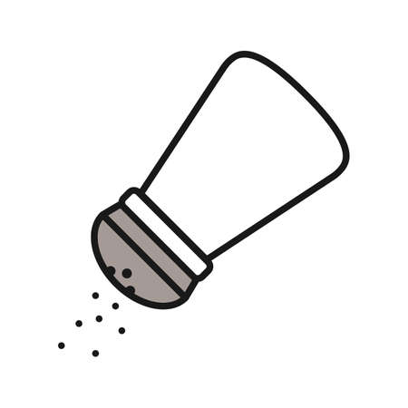 Salt or pepper shaker color icon. Spice. Isolated vector illustration